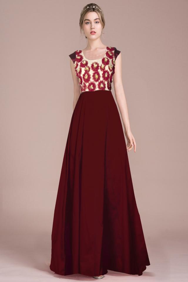 Exclusive Designer Royal Gown #G19 Ferrari Maroon, Buy Gowns online ...