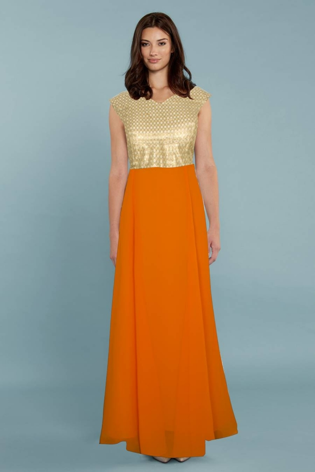 Exclusive Designer Royal Gown #G13 Olay Orange