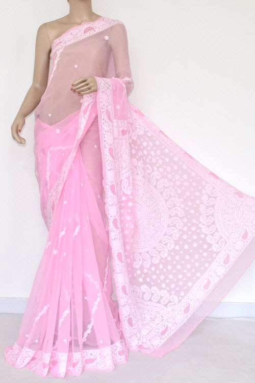Baby Pink Hand Embroidered Lucknowi Chikankari Saree (With Blouse - Georgette) 14420
