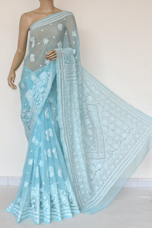 Sky Blue Hand Embroidered Lucknowi Chikankari Saree (With Blouse - Georgette) 14577