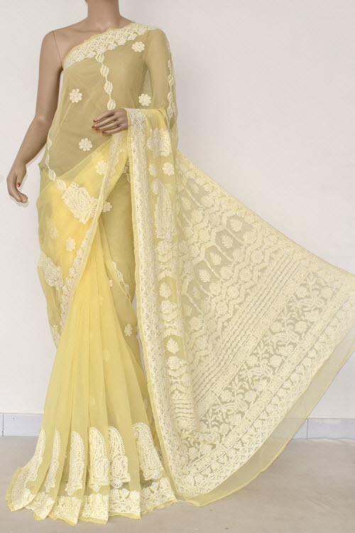 Yellow Hand Embroidered Lucknowi Chikankari Saree (With Blouse - Georgette) 14479