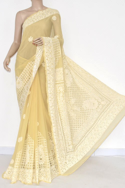 Yellow Hand Embroidered Lucknowi Chikankari Saree (With Blouse - Georgette) 14485