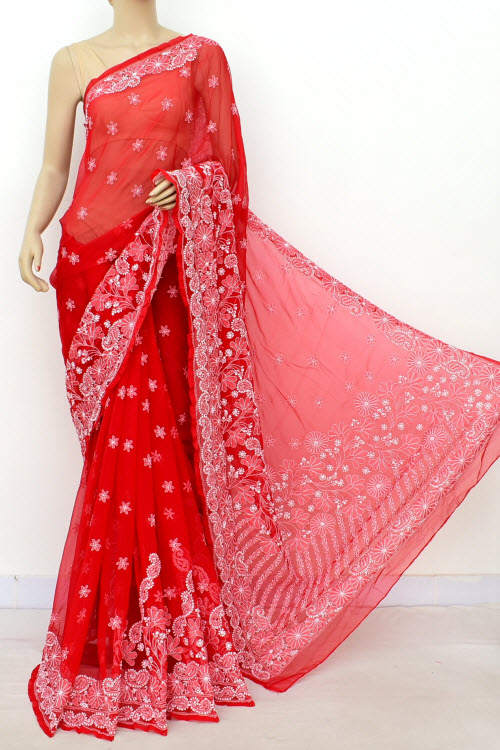Red Designer Hand Embroidered Lucknowi Chikankari Saree (With Blouse - Georgette) Skirt Border 14643