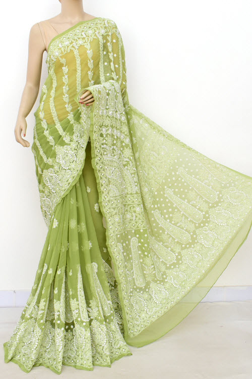 Menhdi Green Designer Hand Embroidered Lucknowi Chikankari Saree (With Blouse - Georgette) Skirt Border 14635