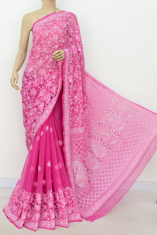 Deep Onion Hand Embroidered Lucknowi Chikankari Saree (With Blouse - Georgette) Half Jaal 14631