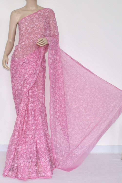 Onion Color Hand Embroidered Lucknowi Chikankari Saree (With Blouse - Georgette) Allover Tepchi Work 14709