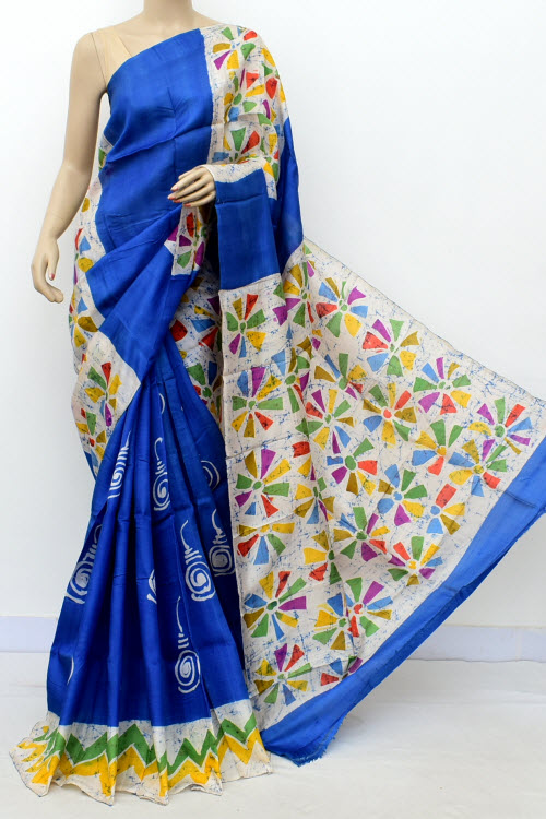 Royal Blue Handloom Double Knitted Batik Print Pure Silk Saree (With Blouse) 16369
