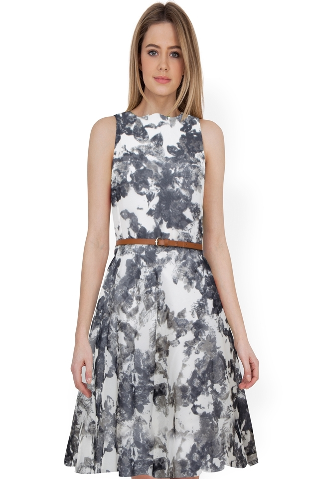 Exclusive Designer Printed Midi #D123 Badal Gray