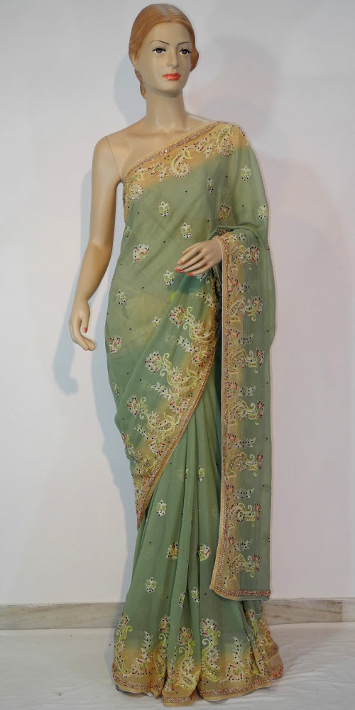 Designer Embroidered Saree 10663