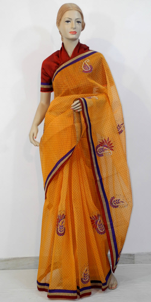 Traditional Kota Cotton Saree (Embroidered) 10785