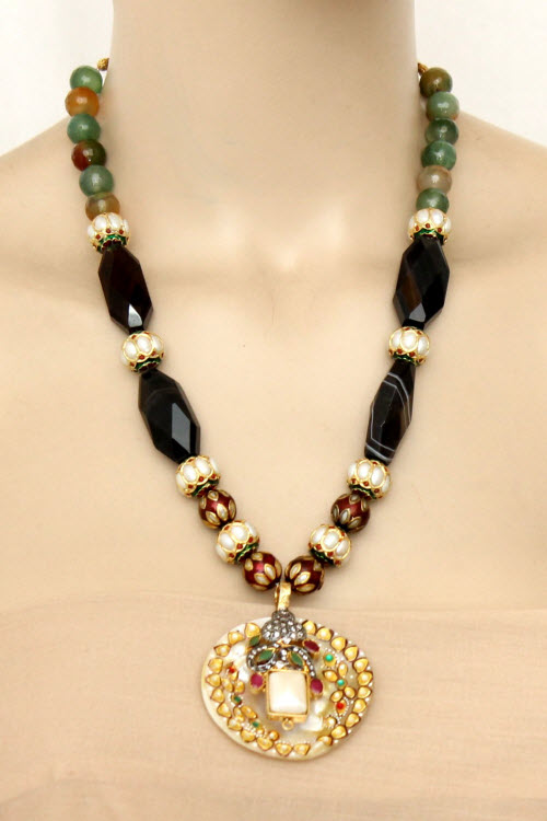 Designer Sea Shell Kantha Necklace Set (Without Earrings) 11193