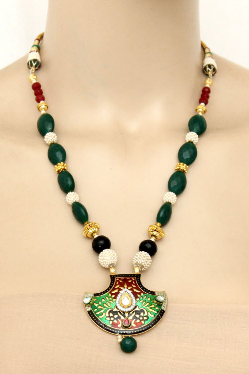 Green Designer Kantha Necklace Set (With Earrings) 11196