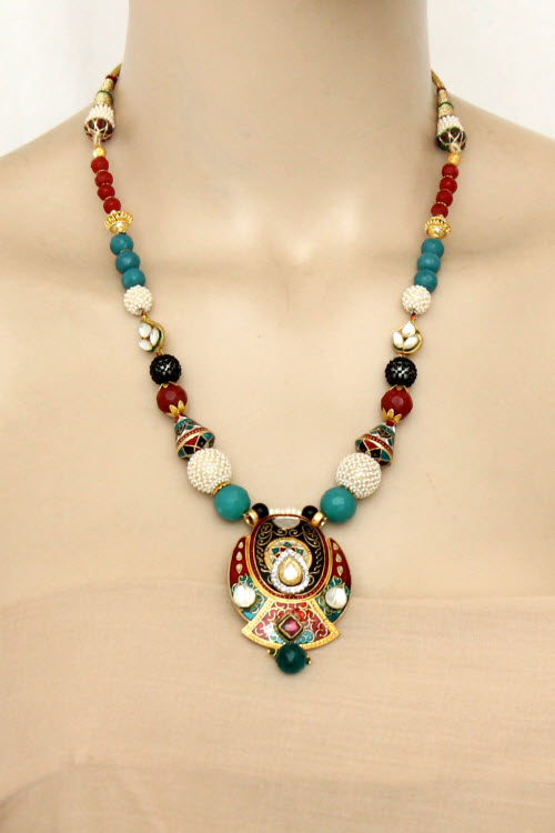 Multi-Color Designer Kantha Necklace Set (With Earrings) 11198