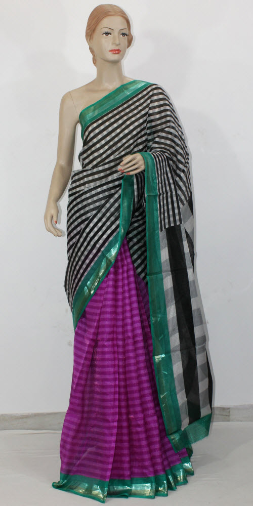 Exclusive Manipuri Check (Half-Half) Saree 11332
