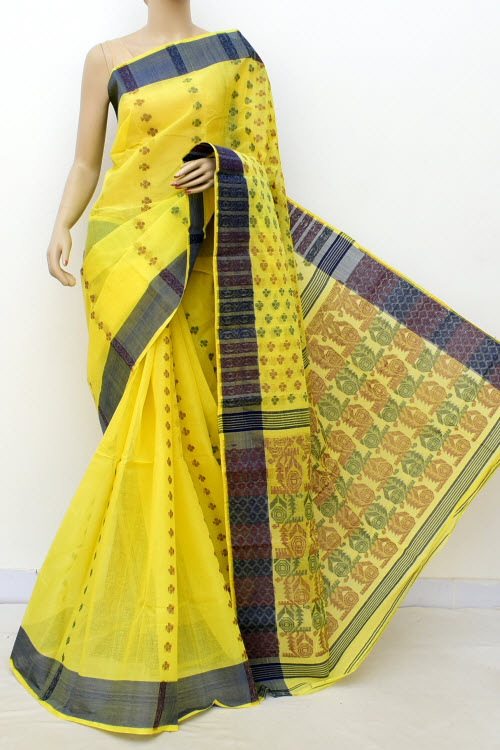 Yellow Handwoven Bengal Tant Cotton Saree (Without Blouse) 16986