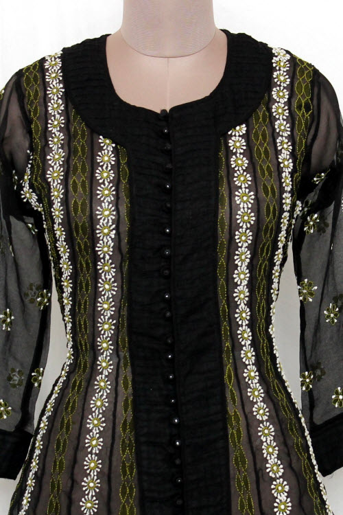 Black Hand Embroidered Lucknowi Chikankari Anarkali Kurti Bust-40 inch 12402