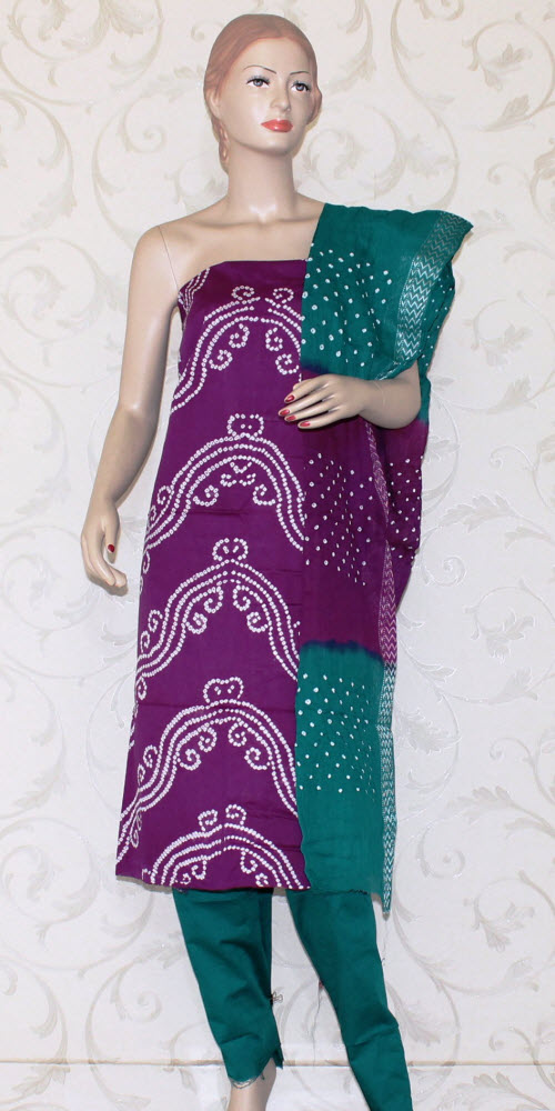 Bandhani (Tie & Die) Un-Stitched Pure Cotton Suit 12519