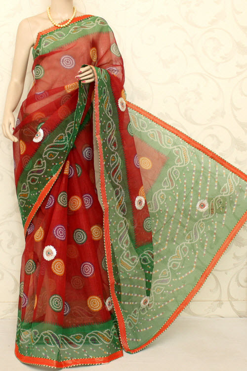 Traditional Kota Cotton Saree (Gota Patti - Without Blouse) 12585