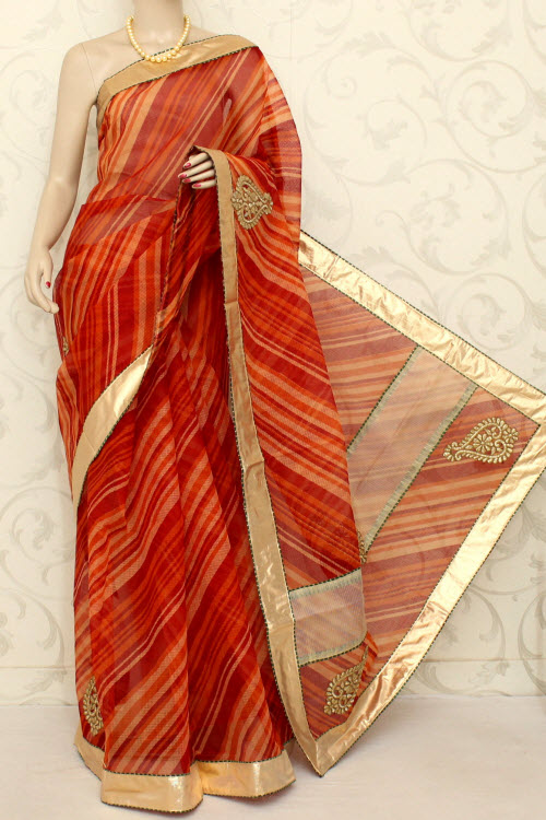 Designer Laharia Kota Saree (With Blouse - Cotton) 12588