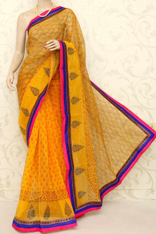 Block Printed Cot-Silk Supernet Kota Saree (With Blouse) 12597
