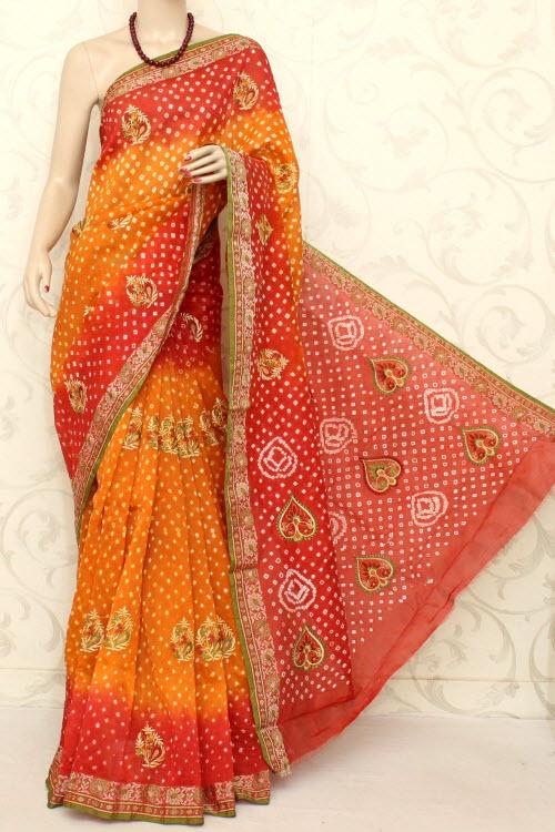 Designer Bandhani Tie N Die Embroidered Art Silk Saree With