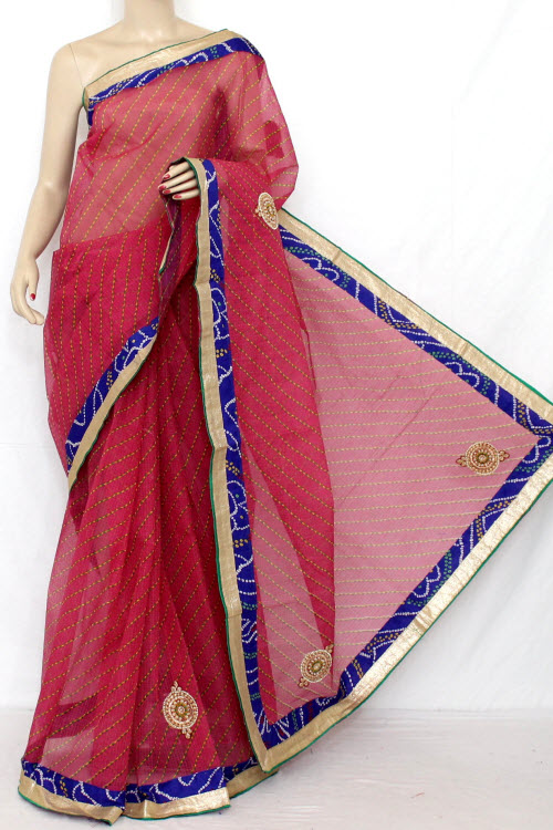Rani (Red) Hand Woven Traditional Laharia Kota Saree (With Blouse - Cotton) 12633