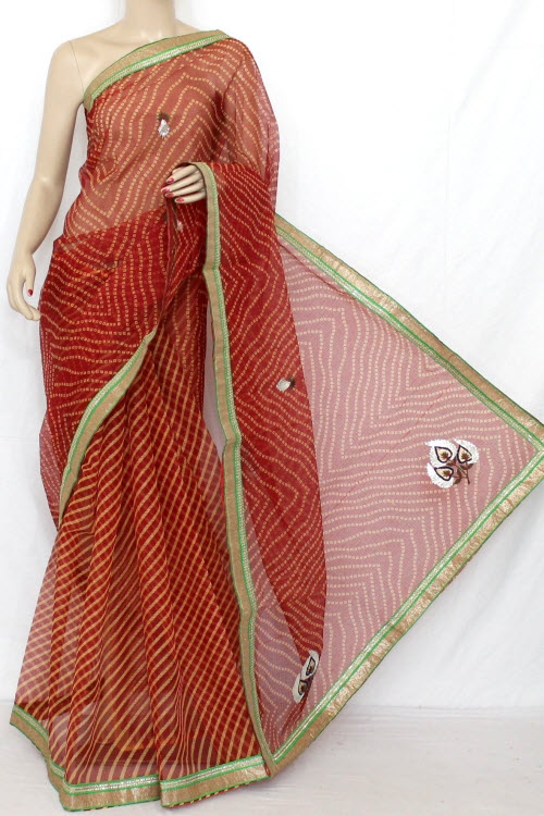 Red Hand Woven Traditional Chunri Print Kota Saree (With Blouse - Cotton) 12638
