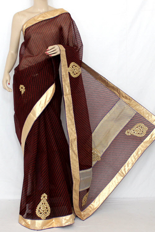 Maroom Hand Woven Traditional Chunri Kota Saree (With Blouse - Cotton) 12640