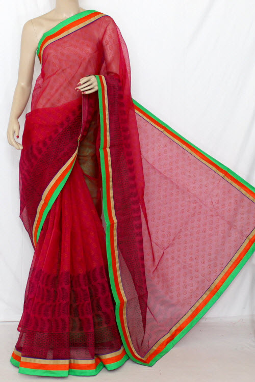 Rani Block Printed Supernet Kota Saree (With Contrast Blouse) 12652