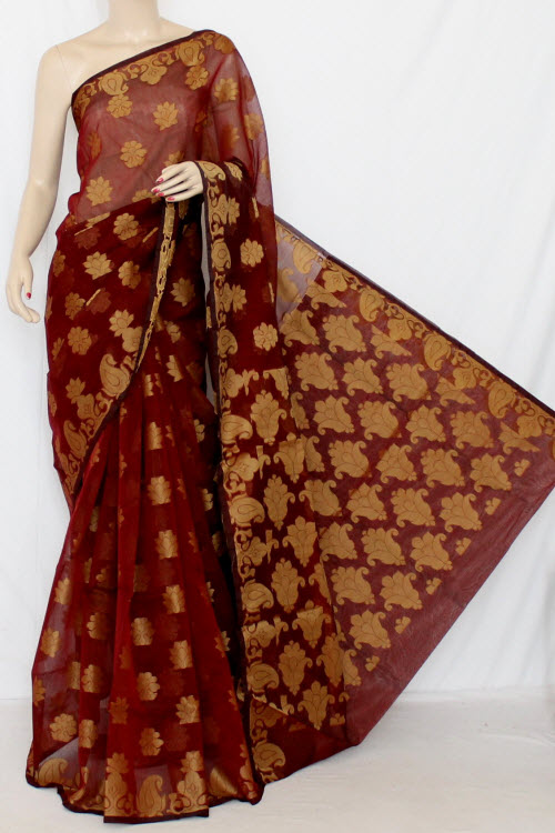 Maroon Handloom Kota Supernet Saree (with Blouse) 12672