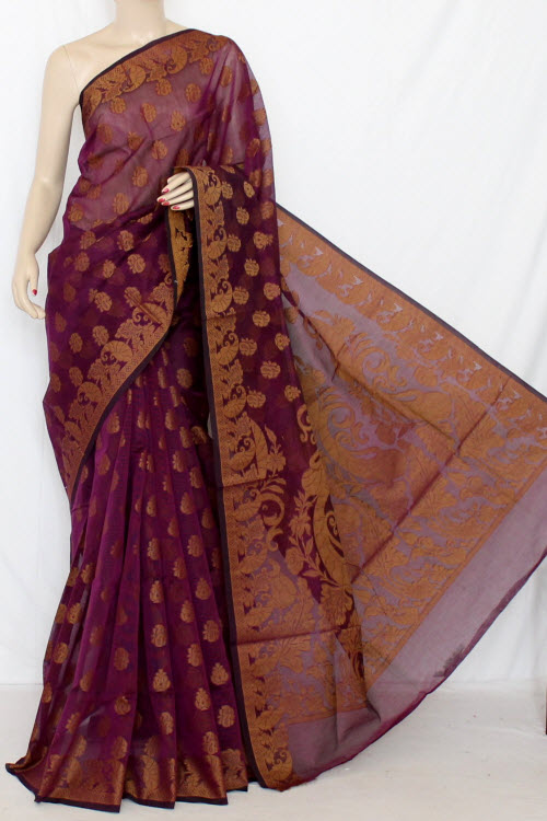 Purple Handloom Kota Supernet Saree (with Blouse) 12674