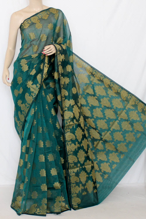 Sea Green Handloom Kota Supernet Saree (with Blouse) 12677