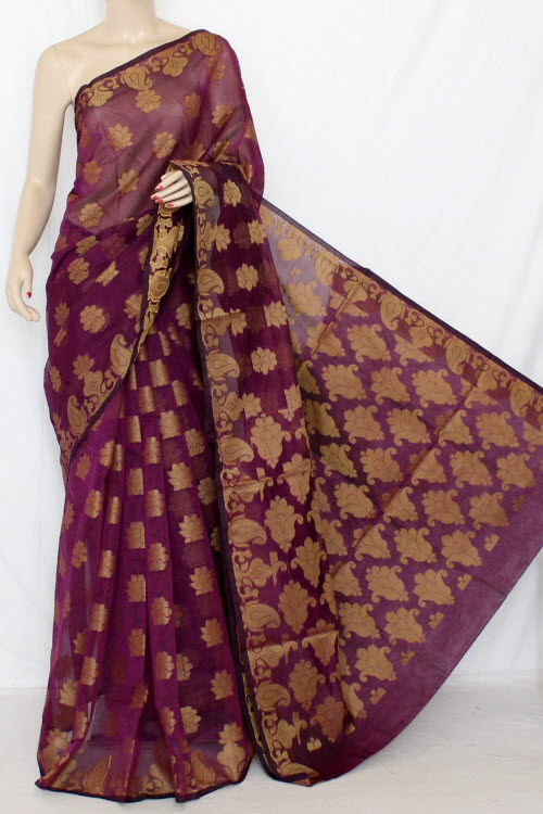 Purple Handloom Kota Supernet Saree (with Blouse) 12678