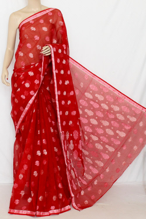 Red Handloom Kota Pink Booti Supernet Saree (with Blouse) 12680
