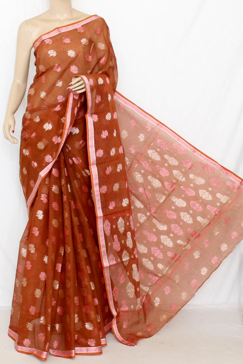 Rust Handloom Kota Pink Booti Supernet Saree (with Blouse) 12683