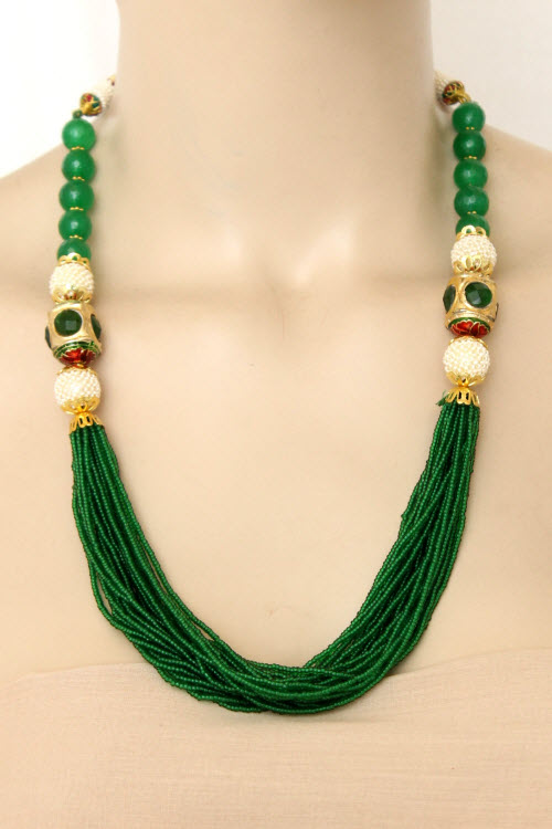 Green Designer 23.5k Gold Plated Moti Mala (Necklace) 12776