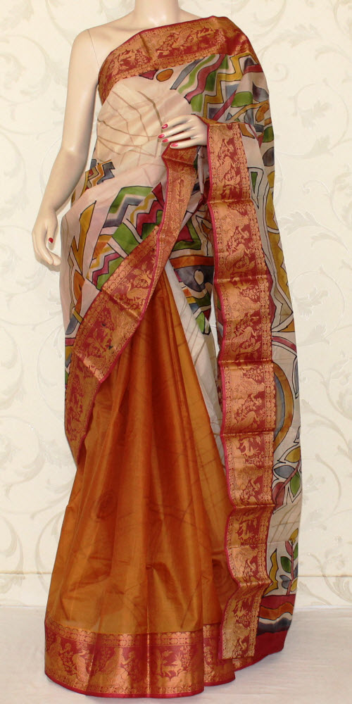 Designer Handprinted Pure Silk Saree 12933