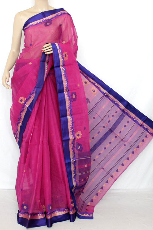 Magenta Handwoven Bengal Tant Cotton Saree (With Blouse) 13081