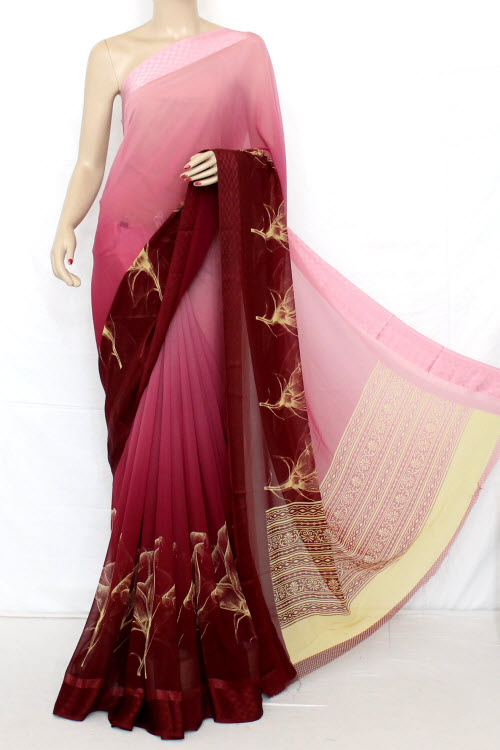 Printed Dx Quality Faux Georgette Saree (Satin Border With Blouse) 13289