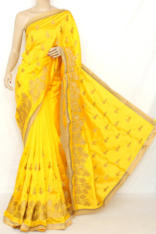 Golden Yellow Exclusive Embroidered Saree (With Blouse) 13299