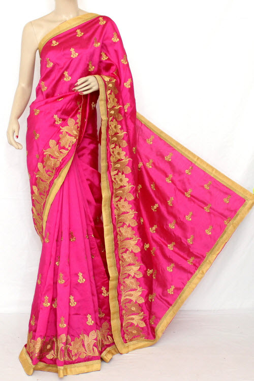 Rani (Red) Exclusive Embroidered Saree (With Blouse) 13300