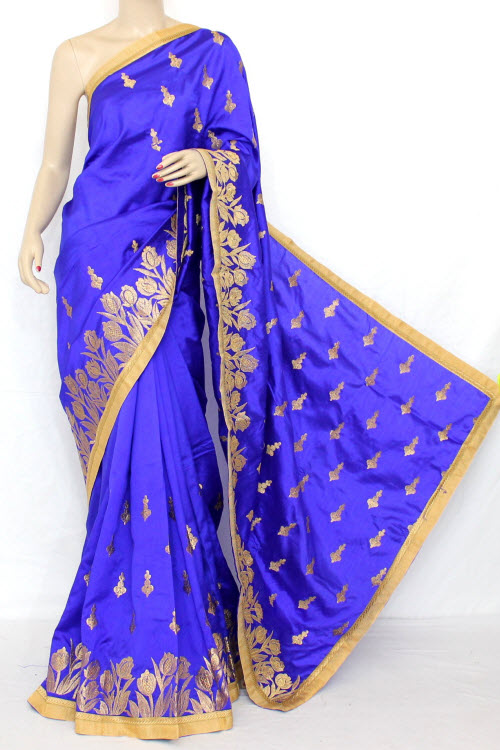 Royal Blue Exclusive Embroidered Saree (With Blouse) 13301