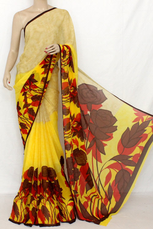 Deep Yellow Printed Fine Quality Wrinkle Georgette Saree (With Blouse) 13304