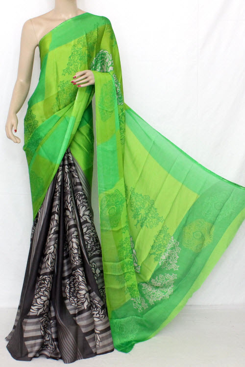 Parrot Green Printed Fine Quality Crepe Georgette Saree (With Blouse) 13312