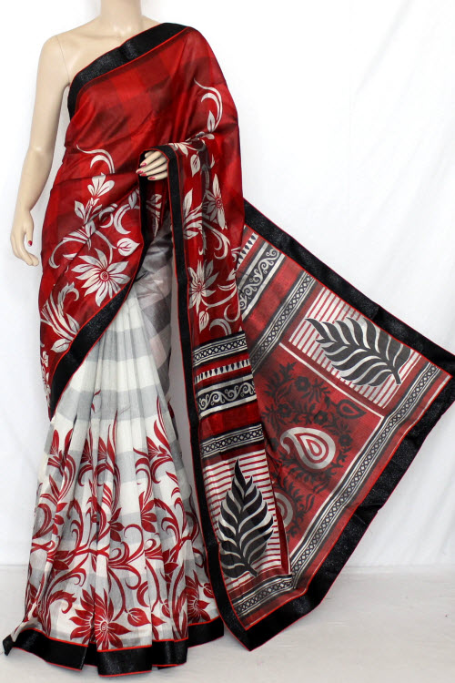 Red & White Designer Printed Cot - Silk Saree (With Blouse) 13329