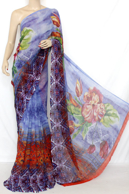 Multi - Color Printed Fine Quality Georgette Saree (With Contrast Blouse) 13333