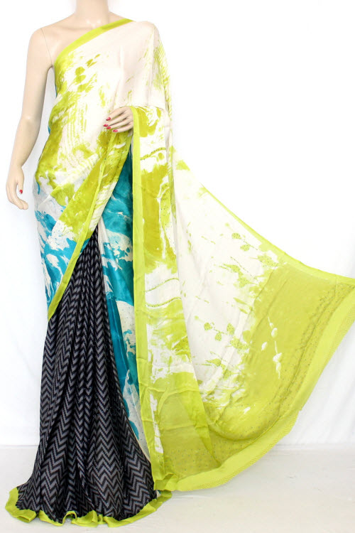 Black & Green Printed Fine Quality Georgette Saree (With Contrast Blouse) 13338