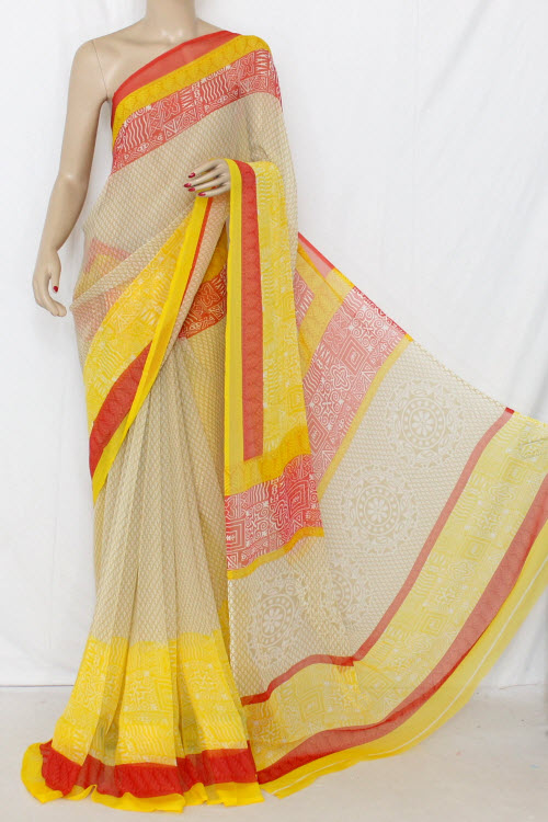 Yellow Printed Dx Quality Chiffon Saree (With Blouse) 13341