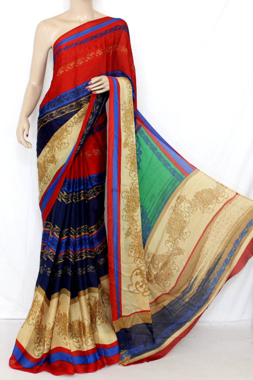 Nevy Blue-Red Printed Silk Saree (With Blouse) 13345