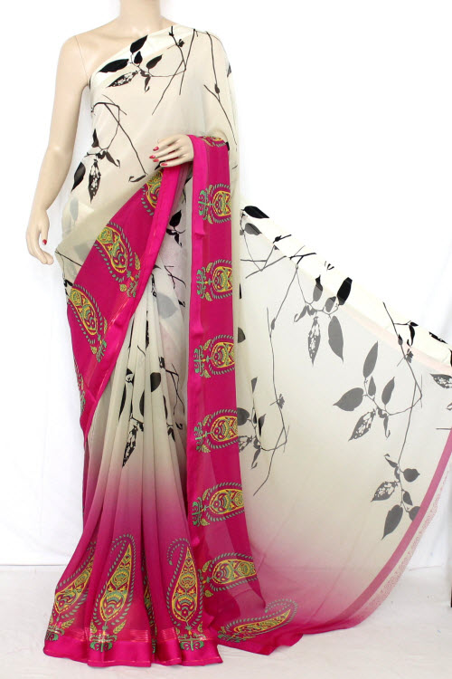 Rani-Fawn Half-Half Printed Dx Quality Faux Georgette Saree (With Blouse) 13347